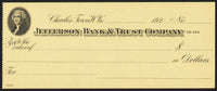 Vintage bank check JEFFERSON BANK and TRUST Thomas Jefferson pic Charles Town WV