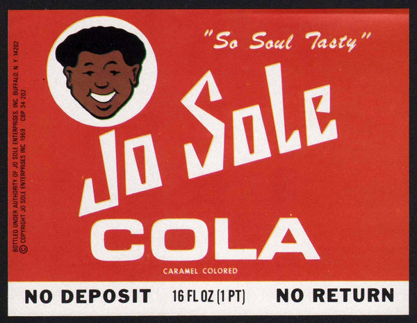 Vintage soda pop bottle label JO SOLE COLA with OJ Simpson pictured Buffalo New York
