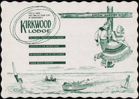 Vintage placemat HAGADORNS KIRKWOOD LODGE Osage Beach Missouri unused n-mint+
