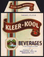 Vintage soda pop bottle label KLEER KOOL BEVERAGES Manchester NH new old stock
