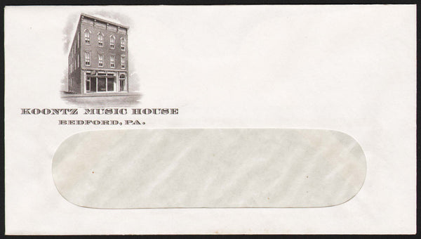 Vintage envelope KOONTZ MUSIC HOUSE building picture Bedford Pennsylvania n-mint