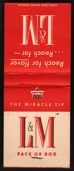Vintage full matchbook L & M CIGARETTES crown pictured The Miracle Tip unstruck