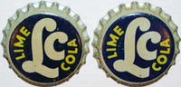 Soda pop bottle caps Lot of 25 LC LIME COLA cork lined unused new old stock