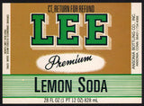 Vintage soda pop bottle label LEE LEMON SODA Ansonia Connecticut new old stock