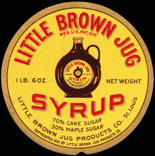Vintage label LITTLE BROWN JUG SYRUP dated 1921 jug pictured St Louis MO n-mint