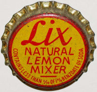 Vintage soda pop bottle cap LIX NATURAL LEMON MIXER cork unused new old stock