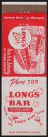 Vintage matchbook cover LONGS BAR with picture Staples Minnesota unstruck n-mint