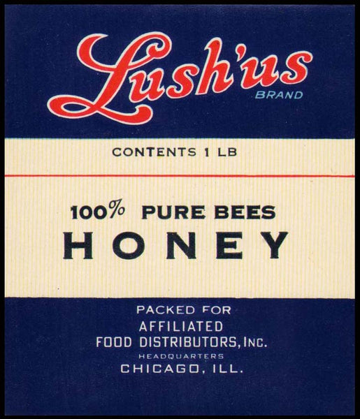 Vintage label LUSHUS HONEY Affiliated Food Chicago new old stock unused n-mint