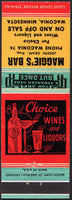 Vintage matchbook cover MAGGIES BAR bottle glasses Waconia Minnesota unstruck