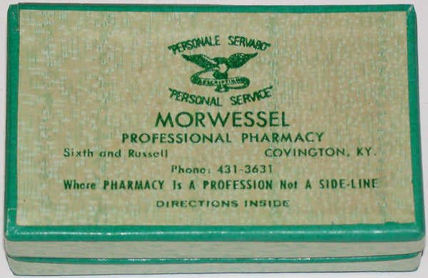 Vintage box MORWESSEL PHARMACY Covington Kentucky eagle pictured unused n-mint