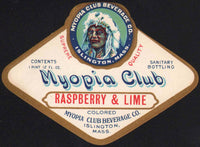 Vintage soda pop bottle label MYOPIA CLUB RASPBERRY and LIME indian Islington MA