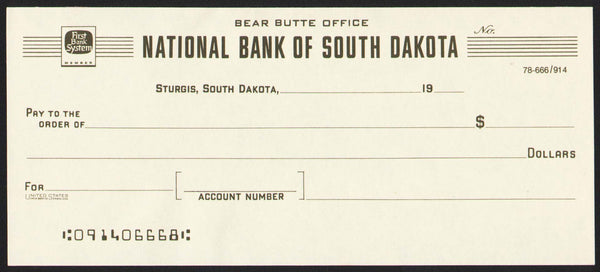 Vintage bank check NATIONAL BANK OF SOUTH DAKOTA Bear Butte Office Sturgis n-mint+