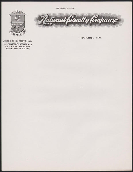 Vintage letterhead NATIONAL CASUALTY COMPANY New York NY James Garrett WG Curtis