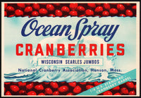 Vintage label OCEAN SPRAY CRANBERRIES wave pictured Hanson Mass unused n-mint+