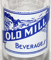 Vintage soda pop bottle OLD MILL with mill scene 1963 Brookville Indiana n-mint
