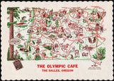 Vintage placemat THE OLYMPIC CAFE 1950 map pictured The Dalles Oregon n-mint+