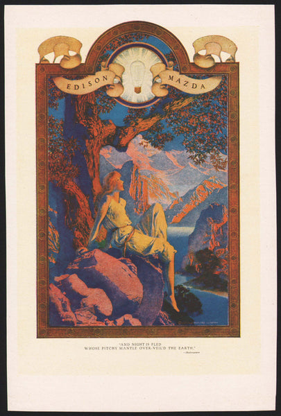 Vintage magazine ad MAXFIELD PARRISH Dawn from 1918 Edison Mazda original n-mint