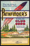 Vintage soda pop bottle label PATHFINDERS CLUB SODA feather 28oz Churchville NY