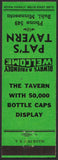 Vintage matchbook cover PATS TAVERN bottle caps display Buhl Minnesota unstruck