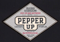 Vintage soda pop bottle label PEPPERS PEPPER UP Ashland PA unused new old stock