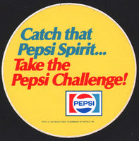 Vintage sticker PEPSI Pepsi Cola round Take the Pepsi Challenge unused n-mint