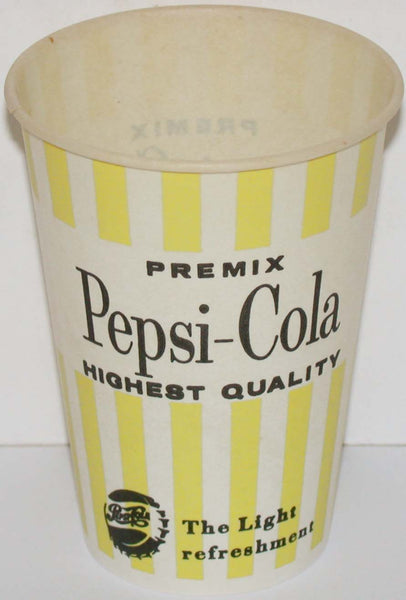 Vintage paper cup PEPSI COLA Premix 7oz bottle cap logo new old stock n-mint+