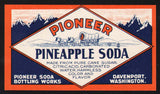 Vintage soda pop bottle label PIONEER PINEAPPLE Davenport Washington n-mint+
