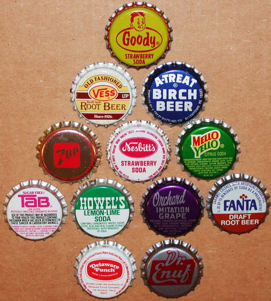 Vintage soda pop bottle caps 12 DIFFERENT plastic lined mix #12 new old stock