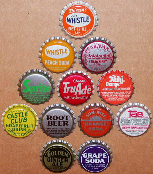 Vintage soda pop bottle caps 12 DIFFERENT plastic lined mix #13 new old stock