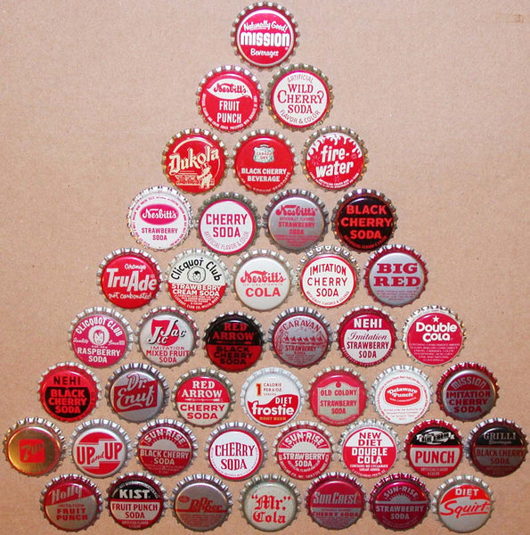 Vintage soda pop bottle caps RED COLORS Lot of 43 different new old stock condition