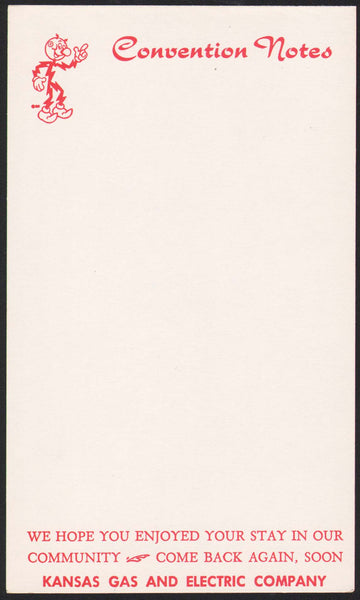 Vintage note sheet KANSAS GAS AND ELECTRIC COMPANY picturing Reddi Kilowatt n-mint