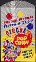 Vintage bag RINGLING BROTHERS BARNUM and BAILEY CIRCUS POP CORN clown pictured n-mint
