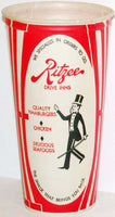 Vintage paper cup RITZEE DRIVE INNS man in tophat pictured new old stock n-mint