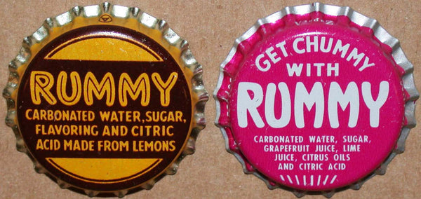 Vintage soda pop bottle caps RUMMY Collection of 2 different new old stock condition