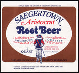 Vintage soda pop bottle label SAEGERTOWN ROOT BEER Aristocrat man pictured PA