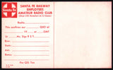 Vintage ham radio card SANTA FE railroad train indian pictured 1969 QSL n-mint