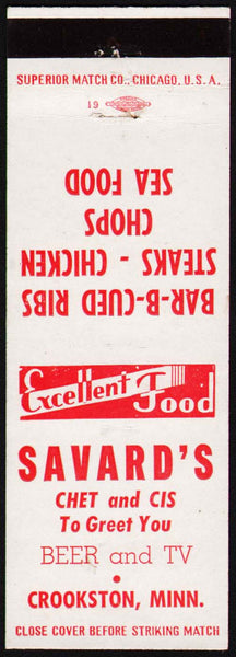 Vintage matchbook cover SAVARDS Chet and Cis Beer and BBQ Crookston Minnesota