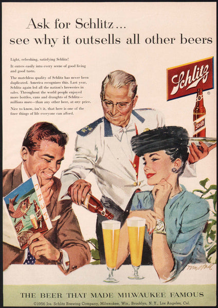 Vintage magazine ad SCHLITZ BEER from 1956 couple and waiter Tom Hall artwork