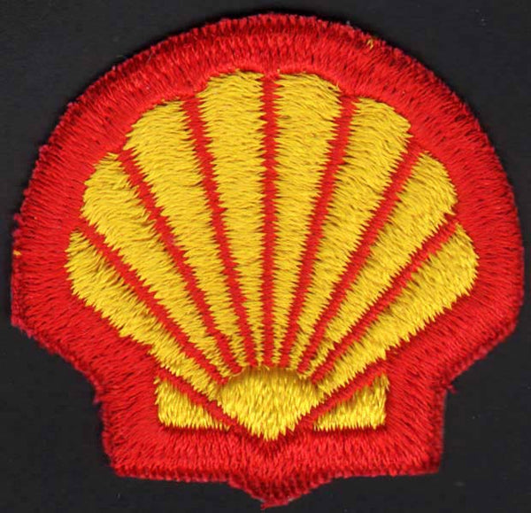 Vintage uniform patch SHELL gas oil die cut clamshell shaped new old stock n-mint+