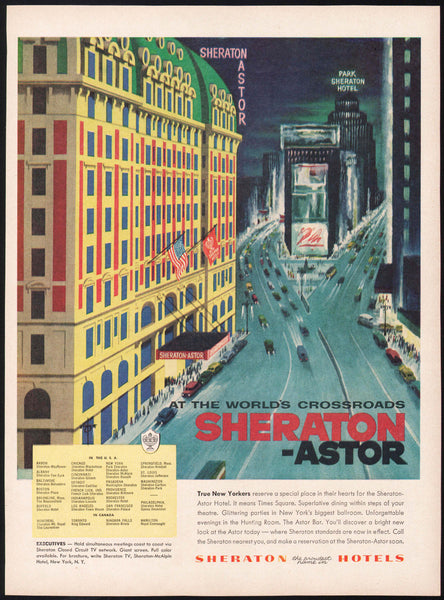 Vintage magazine ad SHERATON ASTOR HOTEL 1956 Times Square New York City picture