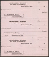 Vintage bank checks SHOWMAKER and HOWARD 1910s Chilhowee Missouri 3 connected