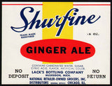 Vintage soda pop bottle label SHURFINE GINGER ALE Muskegon Michigan unused n-mint+