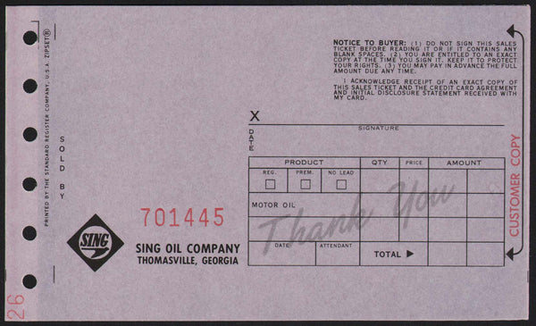 Vintage receipt SING OIL COMPANY Thomasville Georgia new old stock n-mint+