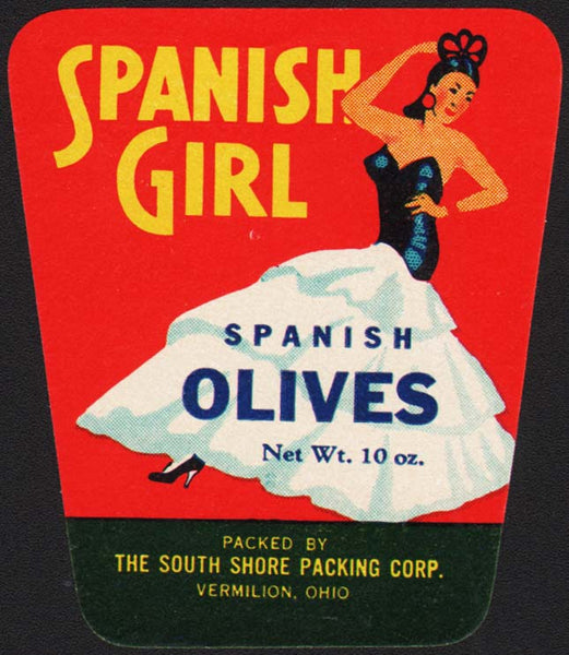 Vintage label SPANISH GIRL OLIVES South Shore Packing Vermilion Ohio n-mint+