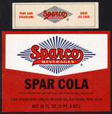 Vintage soda pop bottle label SPARCO SPAR COLA Kenosha Wisconsin new old stock