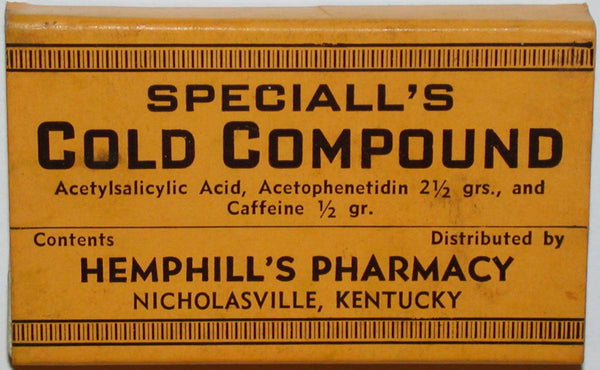 Vintage box SPECIALLS COLD COMPOUND Hemphills Pharmacy Nicholasville Kentucky