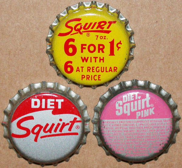 Vintage soda pop bottle caps SQUIRT Collection of 3 different new old stock