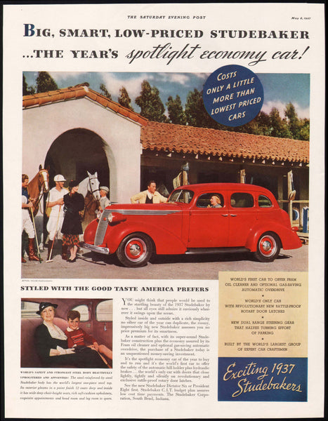 Vintage magazine ad STUDEBAKER AUTOMOBILE from 1937 with a red sedan pictured