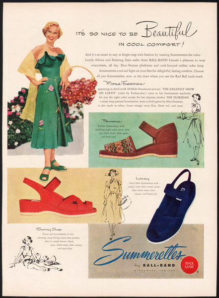 Vintage magazine ad SUMMERETTES SANDALS by Ball Band 1952 Mona Freeman pictured