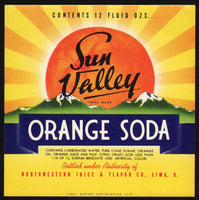Vintage soda pop bottle label SUN VALLEY ORANGE SODA dated 1939 Lima Ohio n-mint